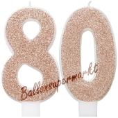 Kerzen Roségold Glitter Zahl 80