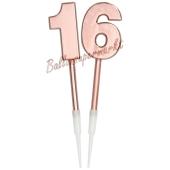Kerzen Roségold Metallic Zahl 16