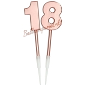 Kerzen Roségold Metallic Zahl 18