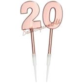 Kerzen Roségold Metallic Zahl 20