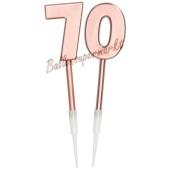Kerzen Roségold Metallic Zahl 70