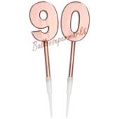 Kerzen Roségold Metallic Zahl 90