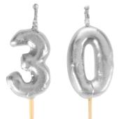 Silberne Zahlenkerzen 30