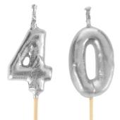 Silberne Zahlenkerzen 40