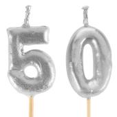 Silberne Zahlenkerzen 50