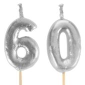 Silberne Zahlenkerzen 60