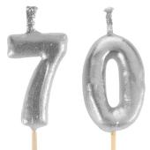 Silberne Zahlenkerzen 70