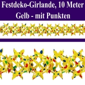 Gelbe Girlande mit bunten Punkten, 10 Meter, Festdekoration und Partydekoration für Veranstaltungen