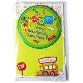 Geld-Geschenk-Karte mit Button, Zum Schulanfang alles Gute