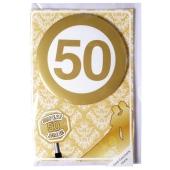 Geld-Geschenk-Karte mit Button, Super 50 Jahre zur Goldhochzeit