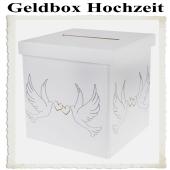 Geldbox Weiß, Gelddose zur Hochzeit, Hochzeitstauben