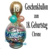 Happy Birthday Chrome Geschenkballon zum 18. Geburtstag