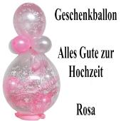 Geschenkballon zur Hochzeit, Alles Gute zur Hochzeit, Luftballons in Weiß und Rosa