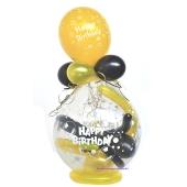 """Geschenkballon """"Happy Birthday"""" zum Geburtstag in Schwarz-Gelb"""