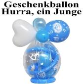 Geschenkballon zu Geburt und Taufe, Hurra, ein Junge