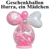 Geschenkballon zu Geburt und Taufe, Hurra, ein Mädchen