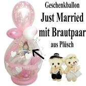 Geschenkballon zur Hochzeit, Just Married, Brautpaar aus Plüsch