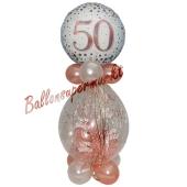 Geschenkballon Sparkling Fizz Rosegold 50 zum 50. Geburtstag