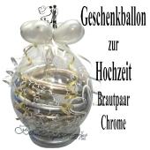 Geschenkballon zur Hochzeit, Brautpaar Spiegel, Luftballons in Gold und Silber