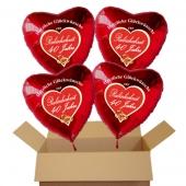 Herzliche Glückwünsche zur Rubinhochzeit, 4 rote Luftballons in Herzform, inklusive Helium