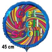 Get well soon! Luftballon, rainbow spiral, aus Folie, 45 cm, mit Ballongas