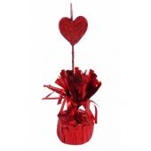 Ballongewicht, rot mit Deko-Herz fuer Heliumgefuellte Ballons