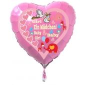 Herzluftballon Rosa aus Folie mit Helium zu Geburt und Taufe, Baby Party: Girl - Baby Girl - Ein Mädchen!