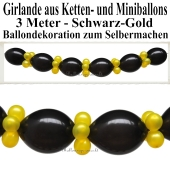 Ballongirlande zum Selbermachen - Kettenballons und Miniballons Schwarz-Gold, 3 Meter
