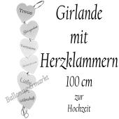 Hochzeitsgirlande mit Herzklammern, 100 cm