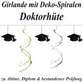 Girlande mit Deko-Spiralen, Doktorhüte zu Abitur und bestandener Prüfung, 3,6 m