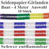 4 Meter Girlanden Karneval Fasching, Farbauswahl, 10 Stück