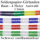 Girlande aus Seidenpapier, 4 Meter, Farbauswahl