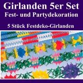 Girlanden 5 Stück Set, 5 Festgirlanden zu Party, Fest, Feier und Veranstaltung