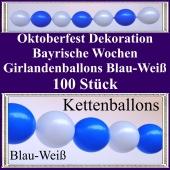 Oktoberfest - Bayrische Wochen - Kettenballons - Girlandenballons in Blau und Weiß - Ballondekoration mit Ballongirlanden
