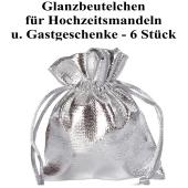 Glanzbeutel für Hochzeitsmandeln und Gastgeschenke, Silber, 6 Stück