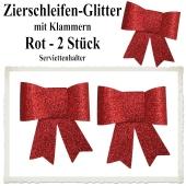 Glitter-Zierschleifen, Schleifendekoration Rot, 2 Schleifen mit Klammern, 6,5 cm x 6,5 cm