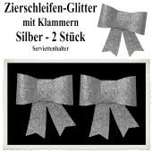 Glitter-Zierschleifen, Schleifendekoration Silber, 2 Schleifen mit Klammern, 6,5 cm x 6,5 cm