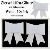 Glitter-Zierschleifen, Schleifendekoration Weiß, 2 Schleifen mit Klammern, 6,5 cm x 6,5 cm