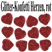 Glitzer-Konfetti Herzen, rot