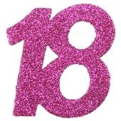 Zahlendekoration Glitter-Konfetti, Zahl 18, Pink