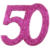 Zahlendekoration Glitter-Konfetti, Zahl 50, Pink