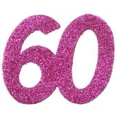 Zahlendekoration Glitter-Konfetti, Zahl 60, Pink