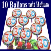 Luftballons Zahl 30 zum 30. Geburtstag, 10 Ballons mit Helium zum Versand im Karton auf die Geburtstagsparty