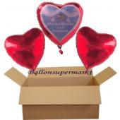 Glückwünsche zur Hochzeit, 3 Helium-Luftballons in Herzform, 2 rote Herzballons, 1 Herzballon mit Glückwünschen