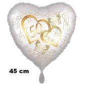Herzluftballon aus Folie, Satin de Luxe, weiß, Goldene Hochzeit, 50 Jahre