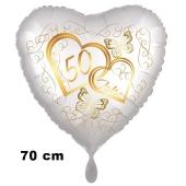 Großer Herzluftballon aus Folie, Satin de Luxe, weiß, Goldene Hochzeit, 50 Jahre
