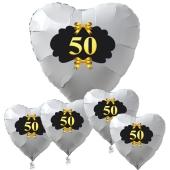 Bouquet Goldene Hochzeit, 50, weiß, mit Ballongas Helium, Dekoration Goldene Hochzeit