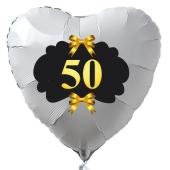 Herzballon aus Folie, 50, weiß, mit Ballongas Helium, Dekoration Goldene Hochzeit