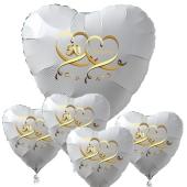 Bouquet aus weißen Herzballons aus Folie, 50 Jahre mit Herzen in Gold, inklusive Ballongas Helium, Dekoration Goldene Hochzeit