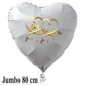 Großer weißer Herzballon aus Folie, 50 mit Herzen in Gold, inklusive Ballongas Helium, Dekoration Goldene Hochzeit